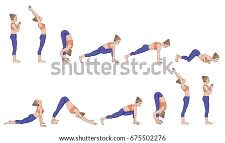 sun salutation surya namaskara yoga sequence stock vector