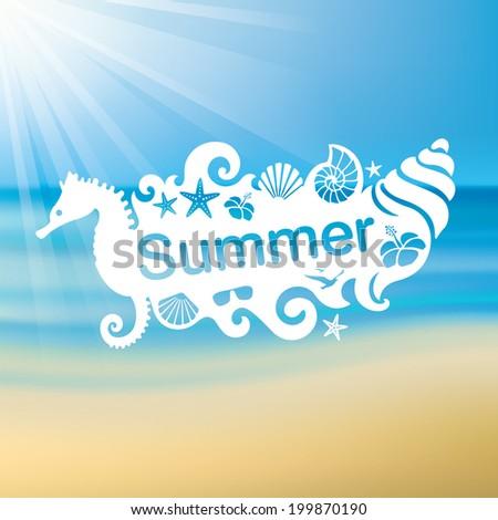 sun,sea,sand,summer - stock vector
