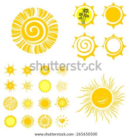 sun set isolated on White background. Vector illustration - stock vector