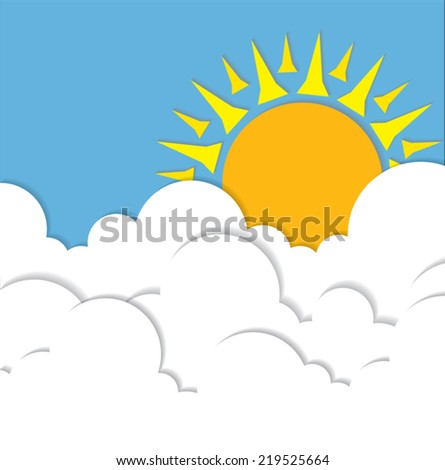 Sun shine and cloud vector background.