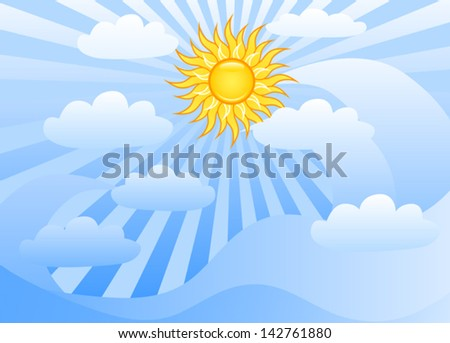 Sun shining in the blue sky with clouds.
