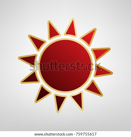 Sun sign illustration. Vector. Red icon on gold sticker at light gray background.