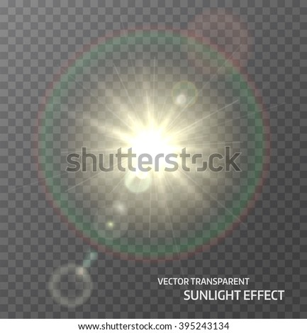 Sun, sunlight with rays and lens flare lights. Glow light effect. Vector illustration - stock vector