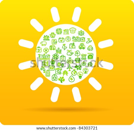 Sun symbol made from small eco,bio,natural icons - stock vector