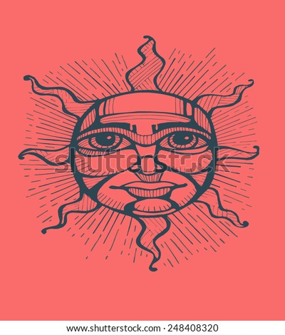 Sun thinking Hand drawn vector illustration or drawing of a sun with a human face
