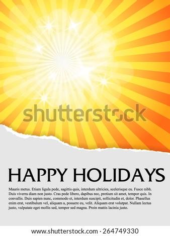 Sun under torn paper, text brochure - stock vector