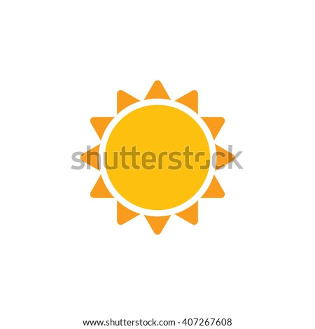 Sun vector icon. Abstract sun closeup. Yellow sun isolated on white background. Flat design. Sunshine