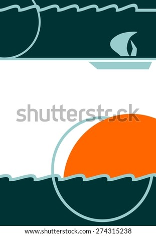 sun, waves and boat, template for travel card or flyer - stock vector