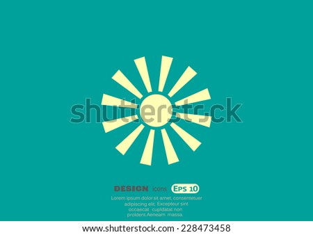 sun, web icon. vector design - stock vector