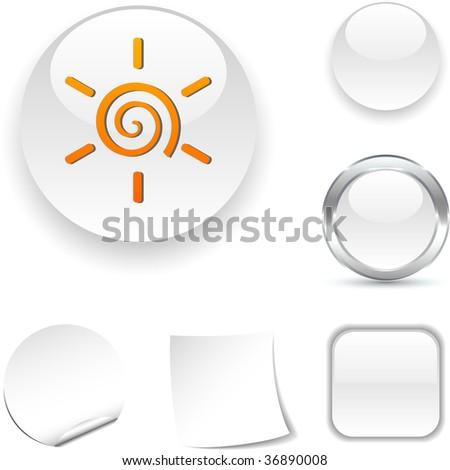 Sun white icon. Vector illustration. - stock vector