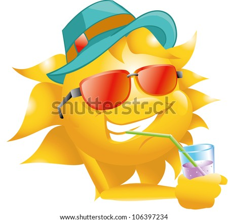 sun with drink, glasses and hat - stock vector