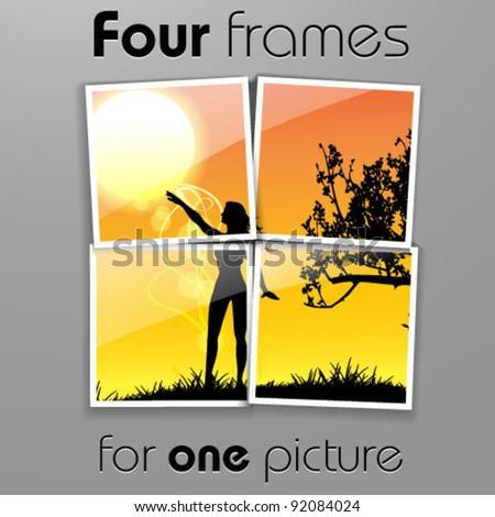 sun with frames - stock vector