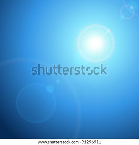 Sun with lens flare and sky vector background eps 10
