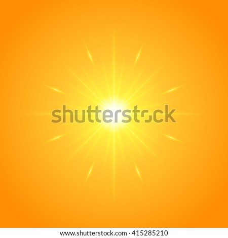 Sun with lens flare lights template and vector background. Sunrise or Sunset Special Effect Glowing Rays.