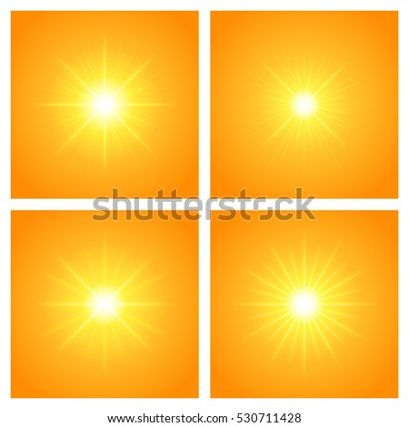 Sun with lens flare lights template and vector set backgrounds. Sunrise or Sunset Special Effect Glowing Rays. Good for promotion materials, Brochures, Banners. Abstract Backdrop.