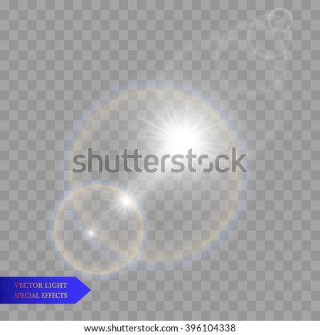 Sun with lens flare, vector background.Light. - stock vector