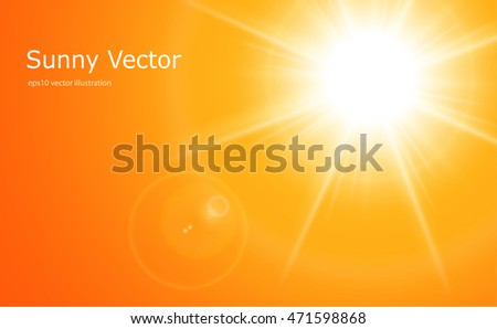 Sun with lens flare, vector orange background.