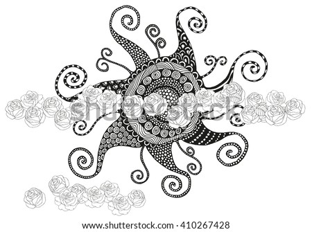 Sun with roses. Sun in the clouds, the sky. Artistically zentangle patterns. Black and white, monochrome background. Hand drawn doodles. Spring, summer time. Coloring book page for adult and children. - stock vector