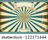 Sunbeam blue retro background. A vintage horizontal poster with a blue sunbeam for you.  Perfect size for a screen. - stock photo