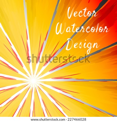 Sunbeam rays bright hand drawn watercolor backdrop. Vector illustration. - stock vector