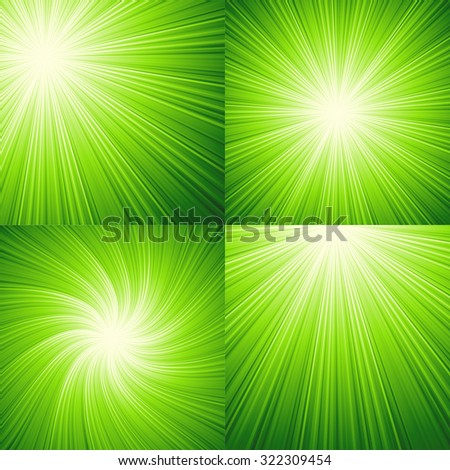Sunbeams green  abstract vector illustration background. EPS 10 - stock vector