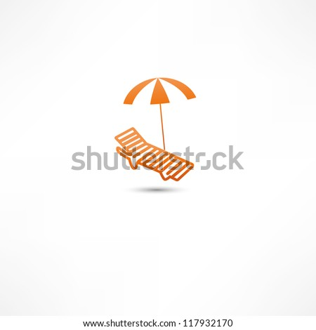 Sunbed and umbrella Icon - stock vector