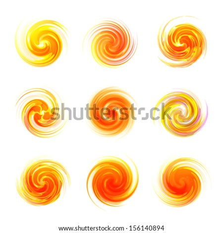 Sunburst abstract vector set. Dynamic flow illustration. Swirl collection.  - stock vector