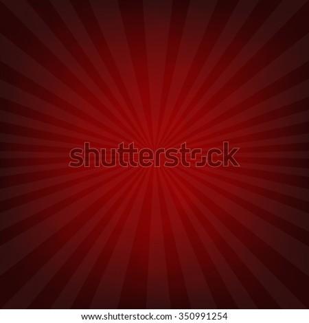 Sunburst Dark Red Retro Poster With Gradient Mesh, Vector Illustration - stock vector