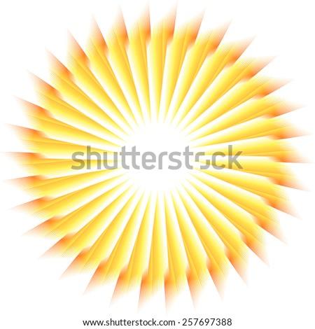 Sunburst rays of sunlight tenplate. Abstract summer fun illustration, logo - stock vector