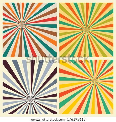 Sunburst Retro Textured Grunge Background Set. Vintage Rays - stock vector