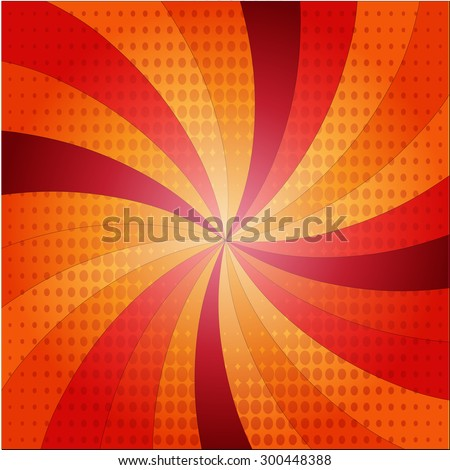 Sunburst with rays illustration, sunlight with stains. Comic cartoon popart style. For you next design project. Easy to use. - stock vector