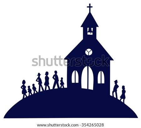 Sunday morning, people going to church - stock vector
