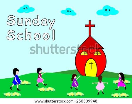 Sunday School.Children go to Sunday School-Vector illustration  - stock vector
