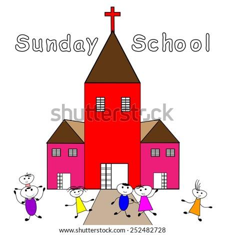 Sunday School-Children go to Sunday School -Vector illustration     - stock vector