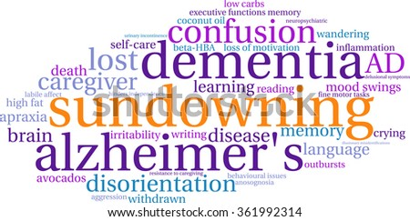 Sundowning word cloud on a white background.