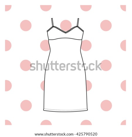 Sundress,combination or nightie, the silhouette.  nightgown female - stock vector