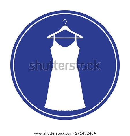 Sundress, Evening dress, combination or nightie on the wardrobe hanger , the silhouette. Menu item in the web design - stock vector