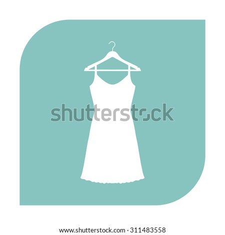 Sundress, Evening dress, combination or nightie on the wardrobe hanger, the silhouette. Menu item in the web design. Set of colored icons. - stock vector
