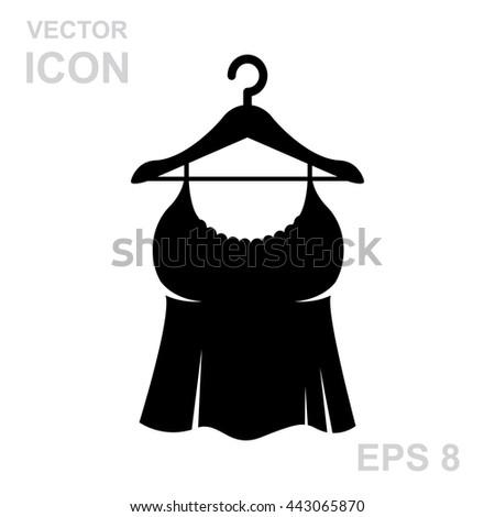 Sundress vector icon. Evening dress. Combination or nightie silhouette. - stock vector