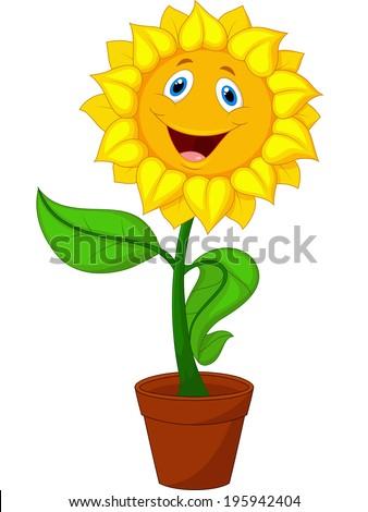 Sunflower cartoon - stock vector