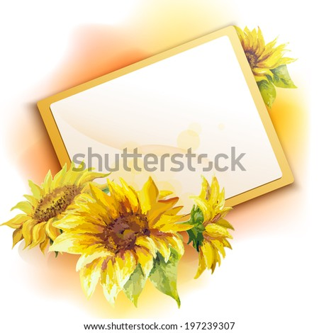 sunflower frame background oil painting flower - Sunflower Picture Frames