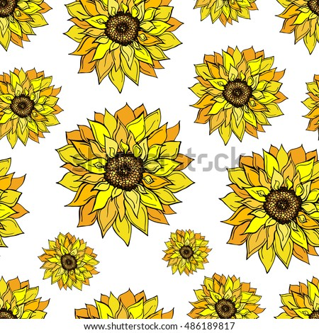 Sunflower pattern.Sunflower icon. Doodle sunflower on white background.Hand drawn realistic. Sunflower print.Sunflower texture. Sunflower Low poly concept.Sunflower  Vector. Sunflower seamless pattern