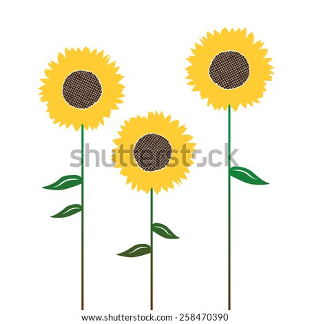 Sunflower's silhouettes, graphic elements for designer - stock vector