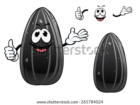 Sunflower seed cartoon character with black glossy striped peel and cheerful toothy smile isolated on white background for food pack design - stock vector