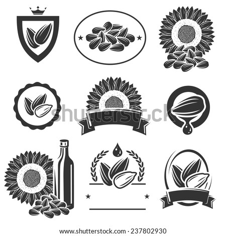 Sunflower seeds label and elements set. Vector - stock vector