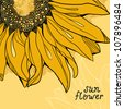 Sunflower vector background greetings card - stock photo
