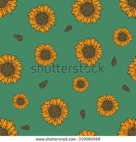 Sunflowers hand drawn seamless vector pattern