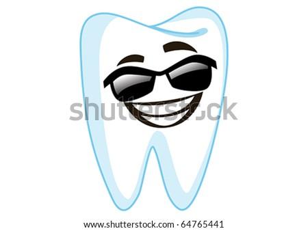 Sunglass Tooth Cartoon Character Illustration in Vector - stock vector
