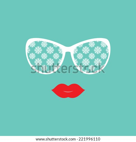 Sunglasses and lips. Sunglasses reflection snowflakes. Vector illustration. Hipster theme. Print for your T-shirts. Great idea for design. Winter theme
