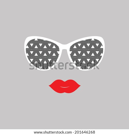 Sunglasses and lips.  Vector illustration.  Print for your T-shirts. Hipster theme. Great idea for design. Woman's face